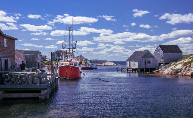 Boats docked at the wharf on a beautiful summer's day in Nova Scotia's iconic fishing community of Peggy's Cove. (Getty Images)