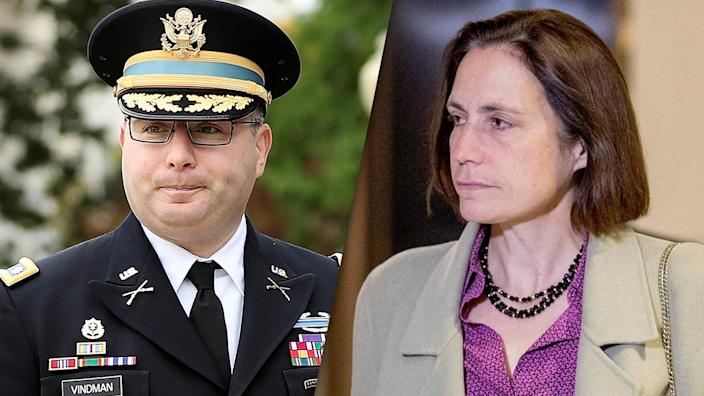 Lt. Col. Alexander Vindman, left, and former White House adviser on Russia Fiona Hill. (Photos: Siphiwe Sibeko/Reuters; Andrew Harnik/AP)