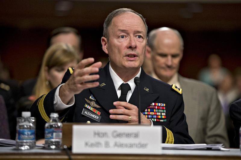 Gen. Keith B. Alexander, director of the National Security Agency and head of the U.S. Cyber Command testifies on Capitol Hill in Washington, Wednesday, June 12, 2013, before the Senate Appropriations Committee, his first public appearance since revelations that the electronic surveillance agency is sweeping up Americans' phone and Internet records in its quest to investigate terrorist threats. (AP Photo/J. Scott Applewhite)