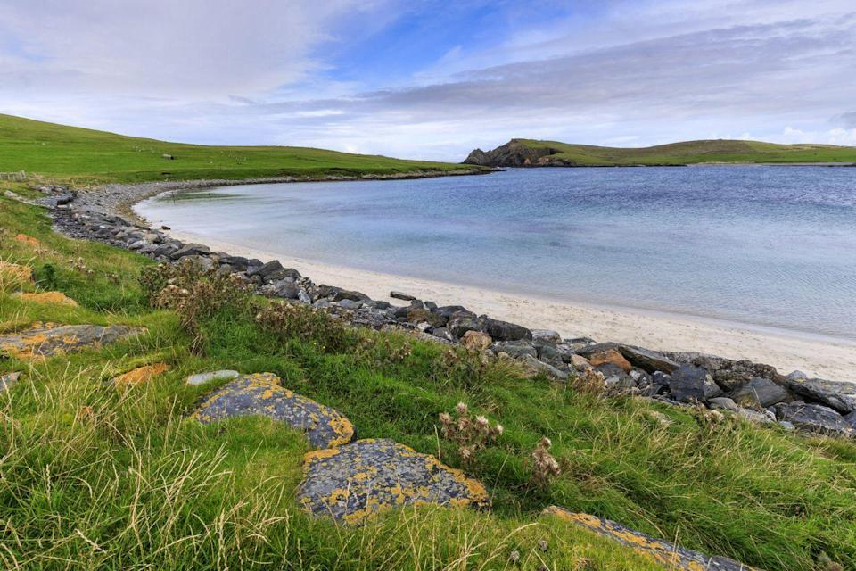 """<p>One of Shetland's most beautiful beaches, the southernmost part of West Burra, can be reached via a footpath which leads to both the beach and onto Kettla Ness Peninsula. This wild Atlantic-facing headland is home to a wide variety of breeding moorland and coastal birds, with sightings of seals a regular occurrence around the shoreline. </p><p><strong>Where to stay: </strong>Minn Beach is just a 20 minute drive from Lerwick's many accommodation options. <a href=""""https://go.redirectingat.com?id=127X1599956&url=https%3A%2F%2Fwww.booking.com%2Fhotel%2Fgb%2Fthelerwickhotel.en-gb.html%3Faid%3D2070936%26label%3Dprima-scotland-beaches&sref=https%3A%2F%2Fwww.prima.co.uk%2Ftravel%2Fg36694479%2Fbest-beaches-scotland-where-to-stay%2F"""" rel=""""nofollow noopener"""" target=""""_blank"""" data-ylk=""""slk:The Lerwick Hotel"""" class=""""link rapid-noclick-resp"""">The Lerwick Hotel</a> overlooks Breiwick Bay and is well located for coastal walks. </p><p><a class=""""link rapid-noclick-resp"""" href=""""https://go.redirectingat.com?id=127X1599956&url=https%3A%2F%2Fwww.booking.com%2Fhotel%2Fgb%2Fthelerwickhotel.en-gb.html%3Faid%3D2070936%26label%3Dprima-scotland-beaches&sref=https%3A%2F%2Fwww.prima.co.uk%2Ftravel%2Fg36694479%2Fbest-beaches-scotland-where-to-stay%2F"""" rel=""""nofollow noopener"""" target=""""_blank"""" data-ylk=""""slk:CHECK AVAILABILITY"""">CHECK AVAILABILITY</a></p>"""