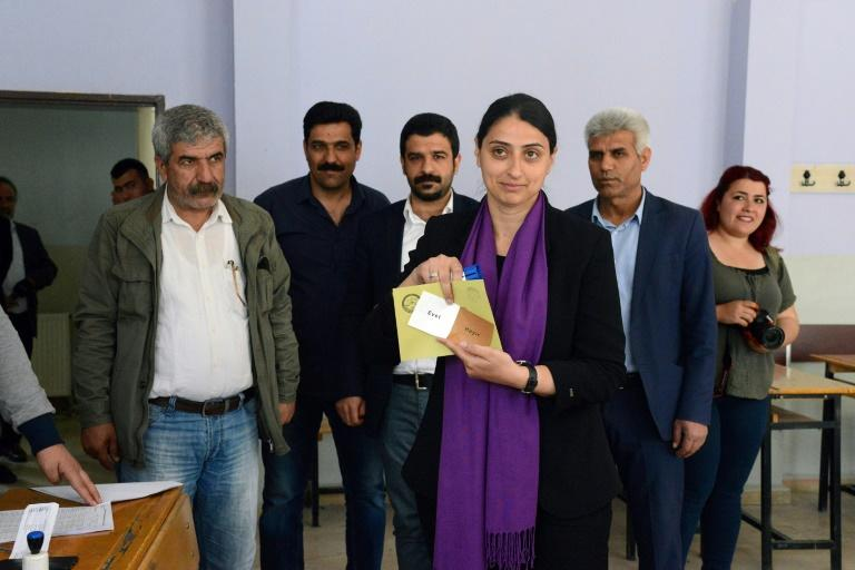 Feleknas Uca of the pro-Kurdish Peoples Democratic Party (HDP) representing the main Kurdish city of Diyarbakır prepares to vote in the Turkish referendum on expanding presidential powers