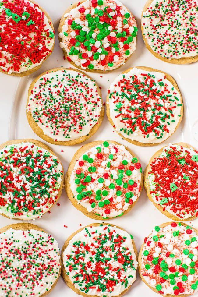 "<p>Children will love decorating this dessert. The more sprinkles, the better!</p><p><strong>Get the recipe at <a href=""https://www.averiecooks.com/soft-frosted-holiday-sprinkles-cookies/"" rel=""nofollow noopener"" target=""_blank"" data-ylk=""slk:Averie Cooks"" class=""link rapid-noclick-resp"">Averie Cooks</a>.</strong></p>"