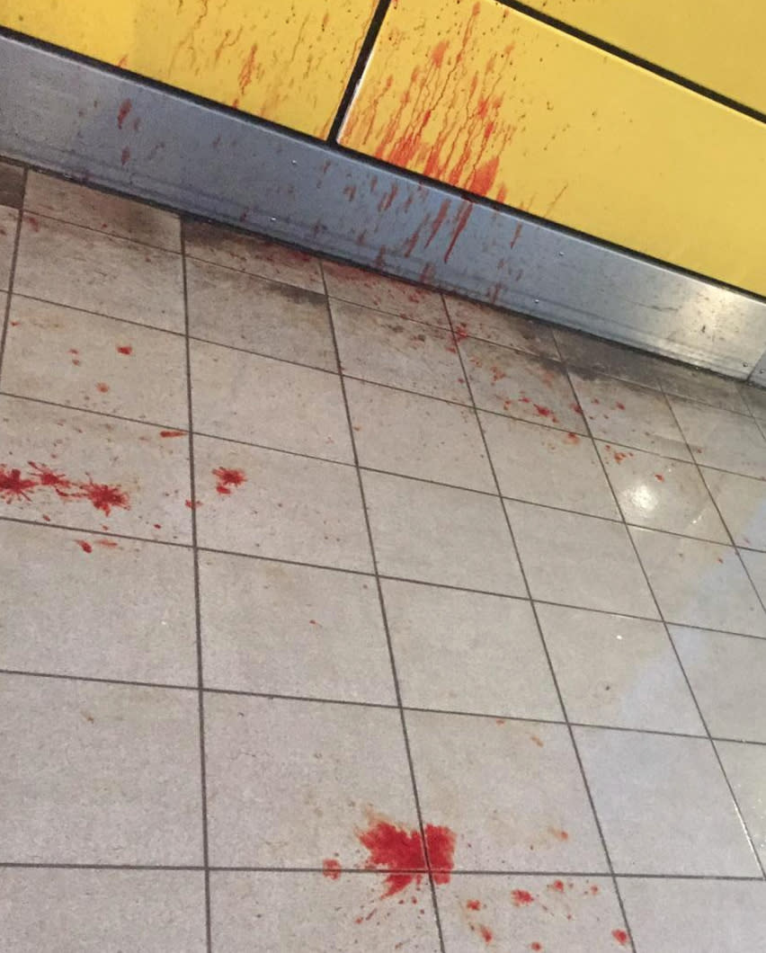 Blood stains photographed at the station after the attack. (SWNS)