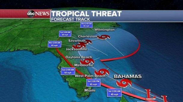 PHOTO: The forecast track shows the direction of the storm. (ABC News)