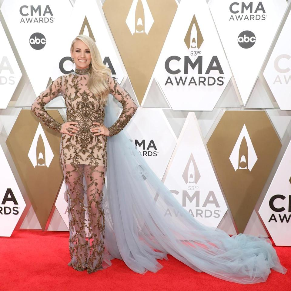 NASHVILLE, TENNESSEE - NOVEMBER 13: (FOR EDITORIAL USE ONLY)  Carrie Underwood attends the 53nd annual CMA Awards at Bridgestone Arena on November 13, 2019 in Nashville, Tennessee. (Photo by Taylor Hill/Getty Images)