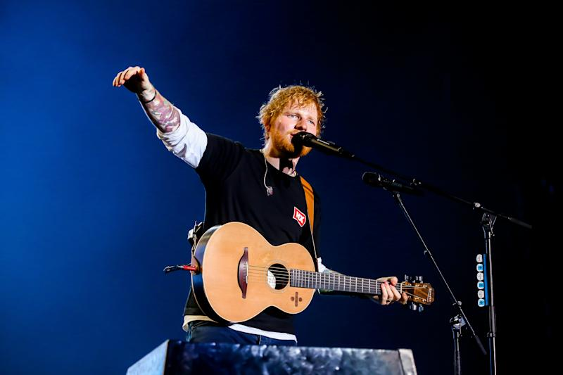 Ed Sheeran performs during the first day of the 2019 Sziget Festival in Budapest. (Photo by Luigi Rizzo/Pacific Press/LightRocket via Getty Images)