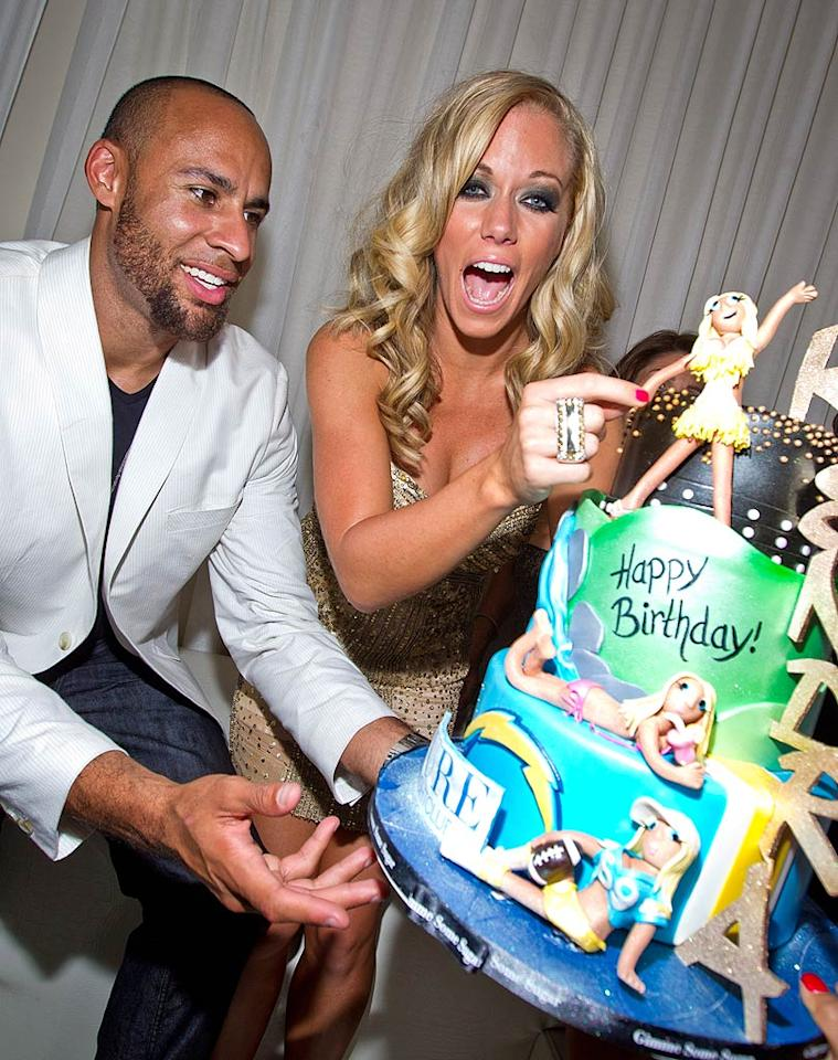 """Kendra was also presented with a second cake! Fortunately, she could indulge without feeling too guilty. The blond beauty confessed recently to <i>Life & Style</i> magazine that she lost one or two dress sizes on the most recent season of """"Dancing With the Stars."""" <a href=""""http://www.infdaily.com"""" target=""""new"""">INFDaily.com</a> - June 11, 2011"""