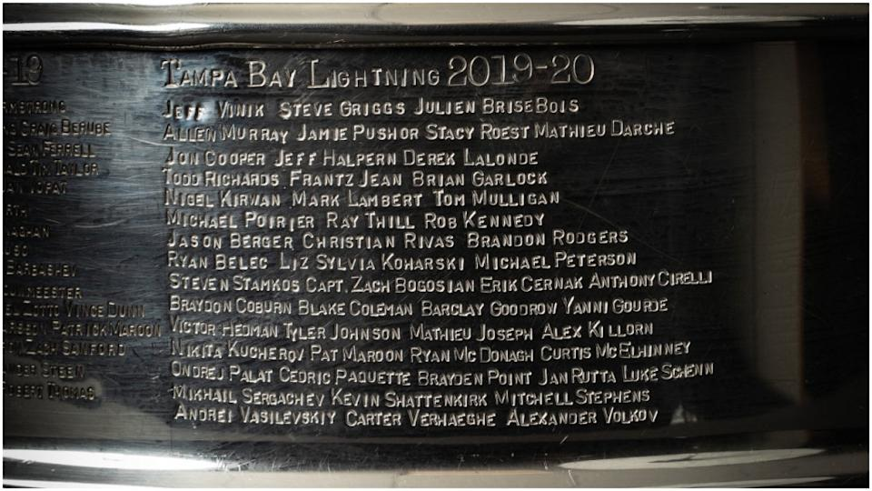 Lightning names etched on Stanley Cup 2019-20