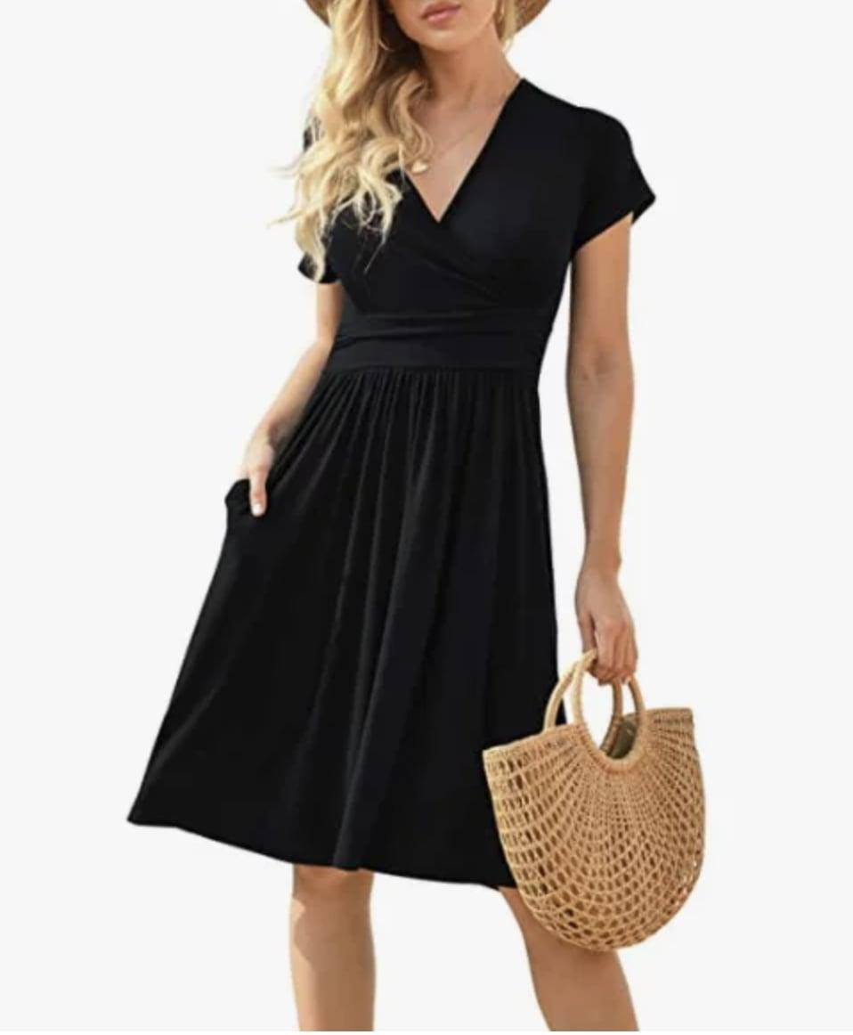 <p>We appreciate that this <span>Lilbetter Short Sleeve V-Neck Dress</span> ($23-$31) will look great with a basket bag and some platform wedges.</p>