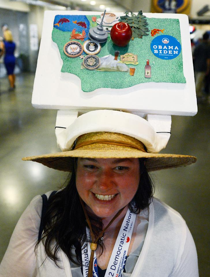 Jennifer Minich of Kent, WA wears a homemade hat of the state of Washington during day one of the Democratic National Convention at Time Warner Cable Arena on September 4, 2012 in Charlotte, North Carolina. The DNC that will run through September 7, will nominate U.S. President Barack Obama as the Democratic presidential candidate.  (Photo by Kevork Djansezian/Getty Images)