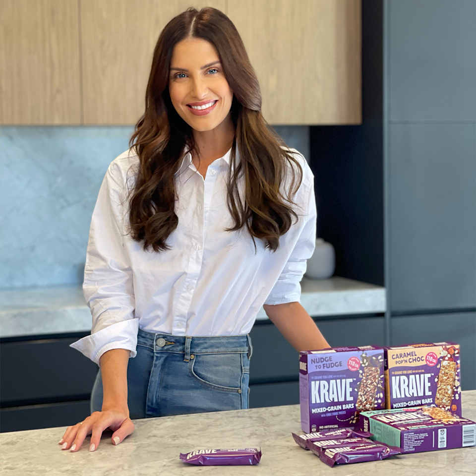 Erin Holland with Krave mixed grain bars.