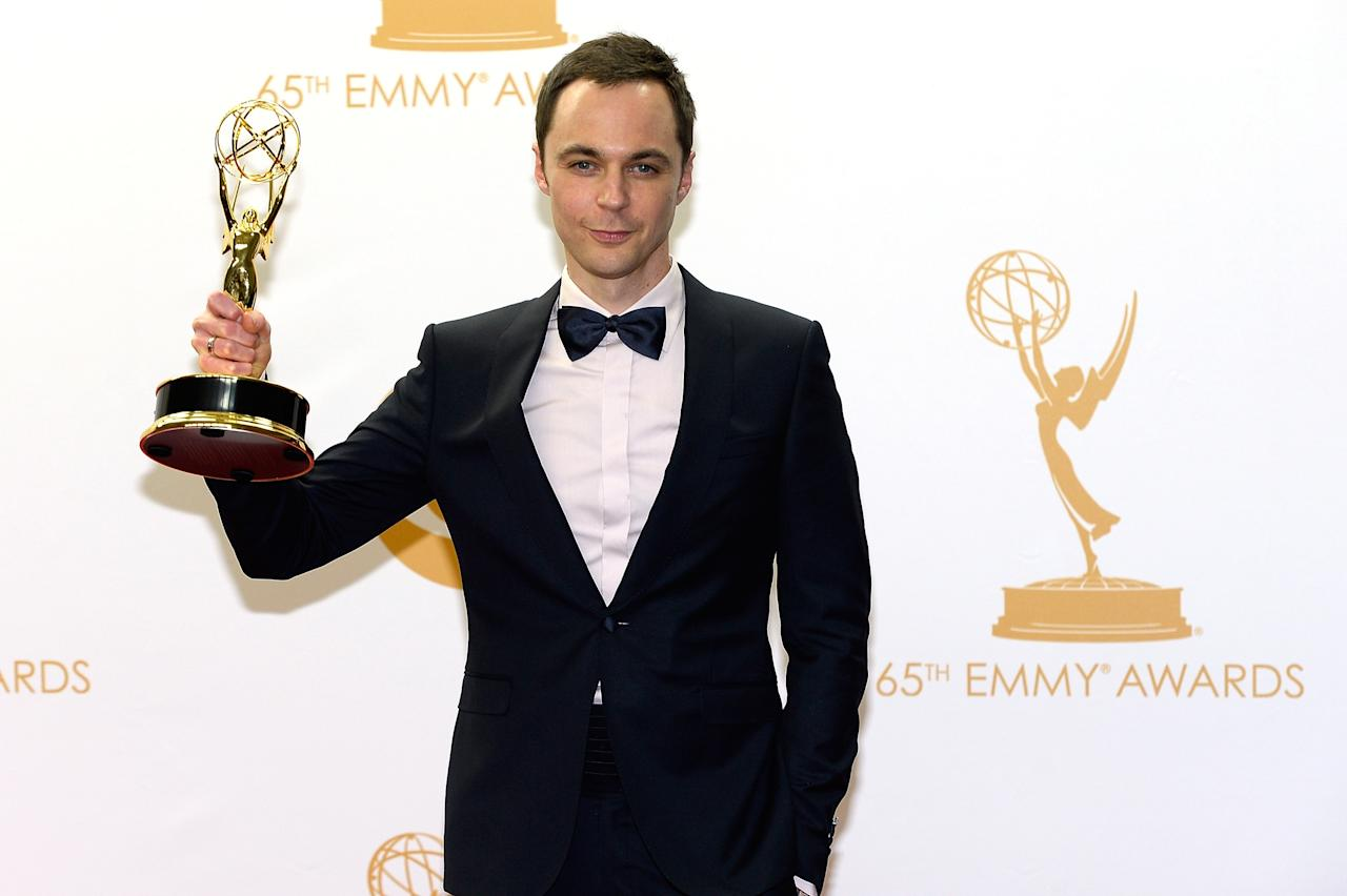 LOS ANGELES, CA - SEPTEMBER 22: Actor Jim Parsons, winner of the Best Lead Actor in a Comedy Series Award for 'The Big Bang Theory' poses in the press room during the 65th Annual Primetime Emmy Awards held at Nokia Theatre L.A. Live on September 22, 2013 in Los Angeles, California. (Photo by Kevork Djansezian/Getty Images)