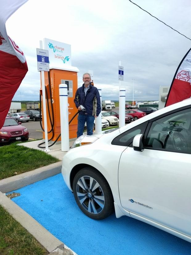 The federal government is helping fund 50 new Level 2 electric vehicle chargers across P.E.I. as part of a commitment to build a network of chargers across Canada. Here, Tom McLean of Fredericton charges his EV Nissan Leaf at the Lincoln Big Stop using a faster model of charger.