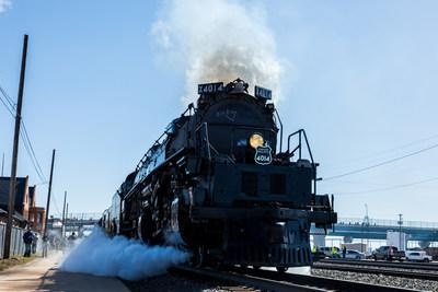 The Big Boy No. 4014 at its christening celebration in Cheyenne, Wyoming.