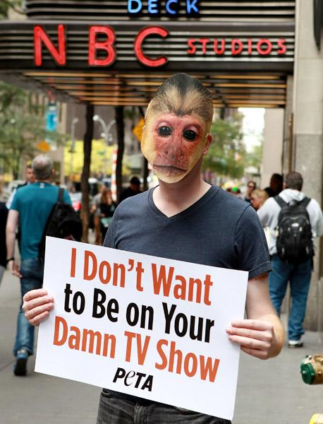 PETA protest 'Animal Practice' TV show at Rockefeller Plaza on September 20, 2012 in New York City. (Photo by Robin Marchant/Getty Images)
