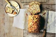 """The ham and cheese-filled loaf is the savory quick bread you didn't know you needed. We love it with Gruyère, but sharp cheddar works just as well. <a href=""""https://www.epicurious.com/recipes/food/views/savory-gruyere-bread-with-ham-melissa-clark?mbid=synd_yahoo_rss"""" rel=""""nofollow noopener"""" target=""""_blank"""" data-ylk=""""slk:See recipe."""" class=""""link rapid-noclick-resp"""">See recipe.</a>"""
