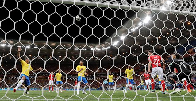 Soccer Football - World Cup - Group E - Brazil vs Switzerland - Rostov Arena, Rostov-on-Don, Russia - June 17, 2018 The players look on after Switzerland's Fabian Schar blocks a shot from Brazil's Renato Augusto REUTERS/Darren Staples