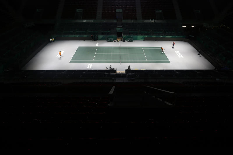 A general view of the Caja Magica, Magic Box, in Madrid, Spain, Friday, Nov. 15, 2019. The Davis Cup that begins Monday will look nothing like the first one in 1900, nor with any other edition after that. The mastermind behind the biggest overhaul in the history of the Davis Cup isn't hiding his anxiety as tennis' top team event is about to enter a new era. (AP Photo/Manu Fernandez)