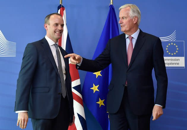 Dominic Raab with Michel Barnier in Brussels at their first meeting
