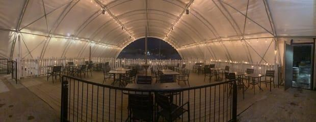 Beyond the Pale Brewing Company has added a tent and heater to its patio this winter. (Supplied by Rob McIsaac  - image credit)