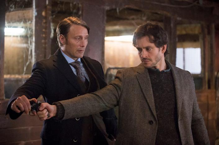 """Mads Mikkelsen, left, and Hugh Dancy in NBC's low-rated but critically adored """"Hannibal."""""""