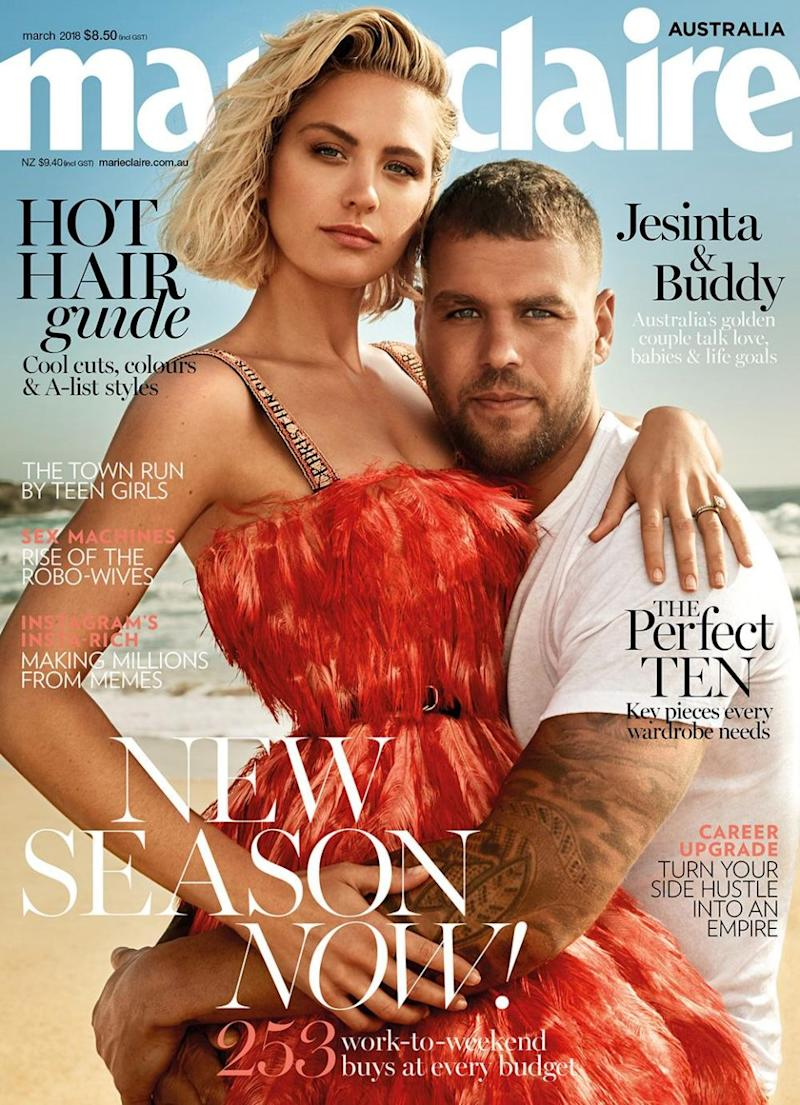 The pair graced the cover together. Source: Marie Claire Australia