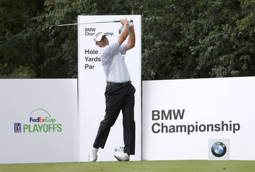 Steve Stricker watches his tee shot off the ninth hole during the pro-am round of the BMW Championship golf tournament at Conway Farms Golf Club in Lake Forest. Ill., Wednesday, Sept. 11, 2013. (AP Photo/Charles Rex Arbogast)