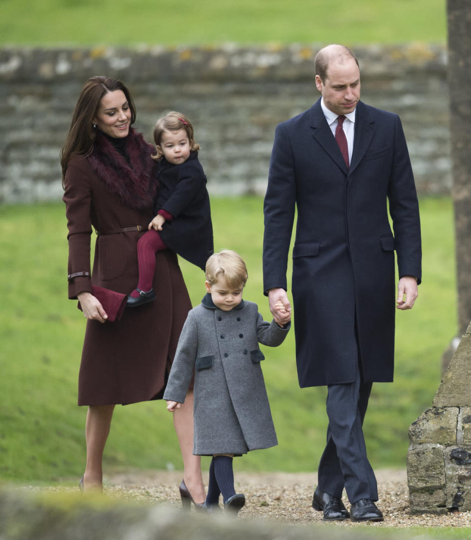 <p>George and Charlotte joined their parents for their first Christmas Day church service. Kate wore a chestnut brown coat from Hobbs - a piece she has been seen in several times over the past couple of years - with a dark red faux fur collar from ASOS. The Duchess also donned fringed leather Tod's pumps and carried a burgundy Mulberry clutch.</p><p><i>[Photo: PA]</i></p>