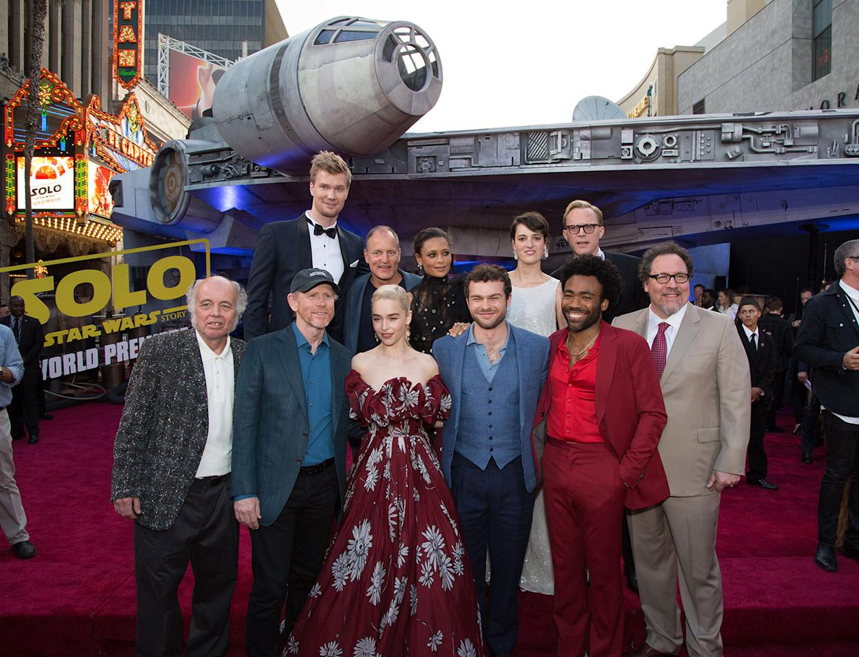 "<p>Back Row) Joonas Suotamo, Woody Harrelson, Thandie Newton, Phoebe Waller-Bridge, Paul Bettany, (Front Row) Clint Howard, Ron Howard, Emilia Clarke, Alden Enrenreich, Donald Glover, Jon Favreau attend the world premiere of ""Solo: A Star Wars Story"" in Hollywood on May 10, 2018..(Photo: Alex J. Berliner/ABImages). </p>"