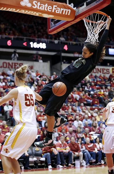 Baylor center Brittney Griner, right, dunks the ball over Iowa State center Anna Prins (55) during the first half of an NCAA college basketball game, Wednesday, Jan. 23, 2013, in Ames, Iowa. (AP Photo/Charlie Neibergall)