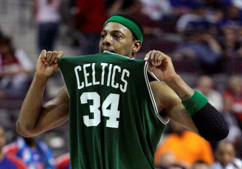 paul pierce s no 34 will be raised to the td garden rafters on feb 11 ap photo