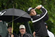 Viktor Hovland, of Norway, watches his tee shot on the third hole during the first round of the Memorial golf tournament, Thursday, June 3, 2021, in Dublin, Ohio. (AP Photo/Darron Cummings)