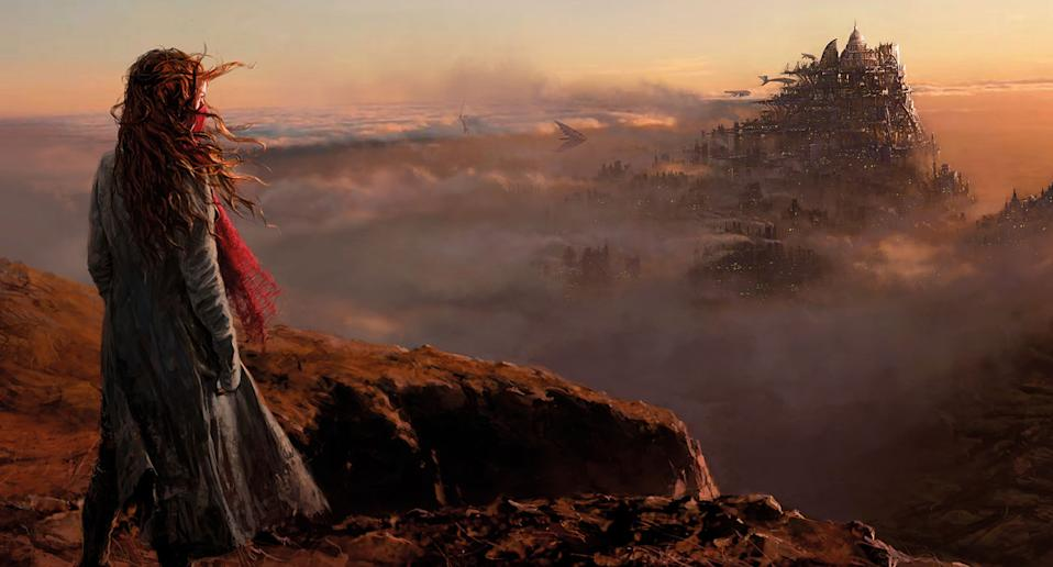 Hester Shaw (Hera Hilmar) looks out at the giant mobile city of London where she seeks an audience with the man who killed her mother (Universal)