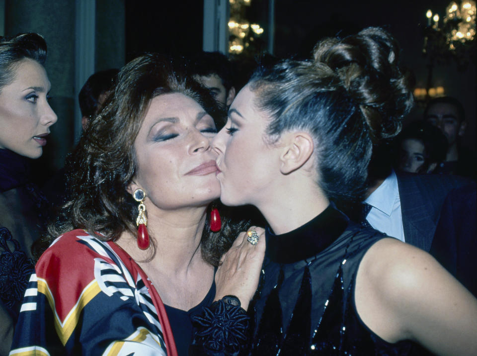 Spanish singer Rocio Jurado (1944-2006) with her daughter Rociito, Madrid, Spain, 1995. (Photo by Gianni Ferrari/Cover/Getty Images)