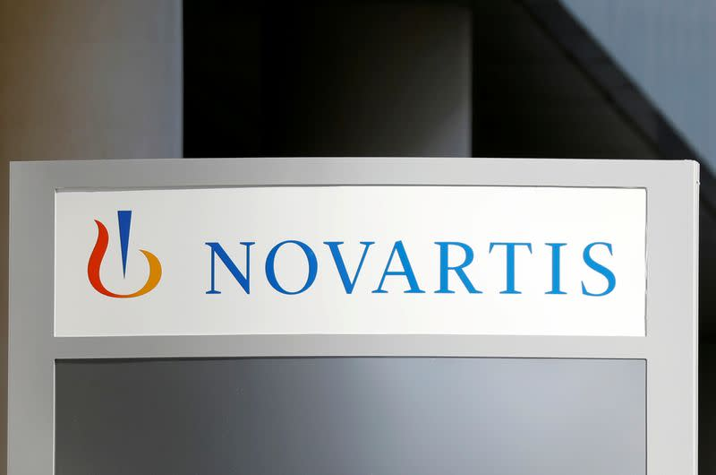 FILE PHOTO: The logo of Swiss drugmaker Novartis is pictured at the French company's headquarters in Rueil-Malmaison