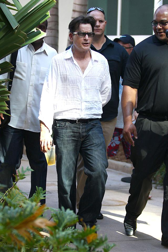 "Charlie Sheen hit Miami with an entourage on Tuesday as he headed to the Fontainebleau for an interview on ""Access Hollywood Live."" The actor chatted about his new FX series ""Anger Management"" and revealed that Selma Blair -- whom he called ""one of the prettiest women in Hollywood"" -- is currently the frontrunner for one of the show's female leads. (01/24/2012)"