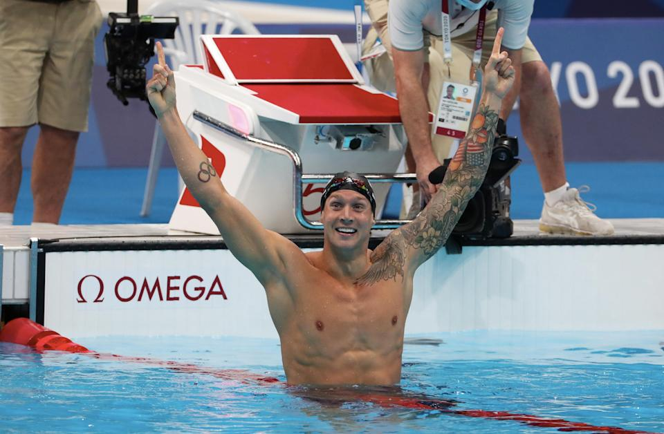 When the moment came to celebrate individul Olympic gold, something Caeleb Dressel had never done before in his decorated career, he soaked it in. (Photo by Xavier Laine/Getty Images)