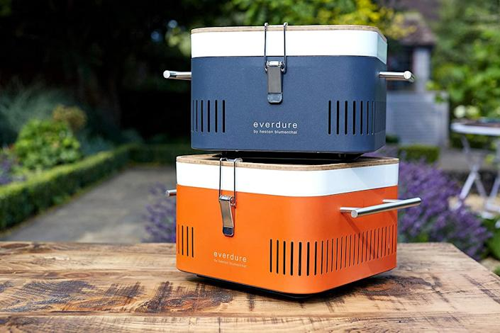 """<h2>Heston Blumenthal for Everdure Charcoal Grill</h2><br><br>The guy loves to cook, and has seared some amazing steaks on his 3-foot square apartment patio with the help of a miniature <a href=""""https://www.homedepot.com/p/Weber-Smokey-Joe-Portable-Charcoal-Grill-in-Black-10020/202818702"""" rel=""""nofollow noopener"""" target=""""_blank"""" data-ylk=""""slk:Smokey Joe"""" class=""""link rapid-noclick-resp"""">Smokey Joe</a>. This year, he deserves an upgrade that matches his skill set — something like this sleek, porcelain-enamel charcoal grill co-designed by knighted British chef <a href=""""https://www.thefatduck.co.uk/"""" rel=""""nofollow noopener"""" target=""""_blank"""" data-ylk=""""slk:Heston Blumenthal"""" class=""""link rapid-noclick-resp"""">Heston Blumenthal</a>; complete with an interior food tray, bamboo chopping board, stay-cool handles, and safety latches for easy transport.<br><br><em>Shop Everdure on <strong><a href=""""https://amzn.to/2Sc1s7v"""" rel=""""nofollow noopener"""" target=""""_blank"""" data-ylk=""""slk:Amazon"""" class=""""link rapid-noclick-resp"""">Amazon</a></strong></em><br><br><strong>Everdure</strong> Everdure by Heston Blumenthal Portable Charcoal Grill, $, available at <a href=""""https://amzn.to/3ig6Oth"""" rel=""""nofollow noopener"""" target=""""_blank"""" data-ylk=""""slk:Amazon"""" class=""""link rapid-noclick-resp"""">Amazon</a>"""