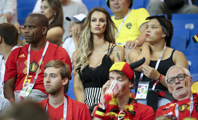 <p>Thierry Witsel, father of Axel Witsel of Belgium, Rafaella Szabo Witsel, Axel's wife during the 2018 FIFA World Cup Russia Round of 16 match between Belgium and Japan at Rostov Arena on July 2, 2018 in Rostov-on-Don, Russia. (Photo by Jean Catuffe/Getty Images) </p>
