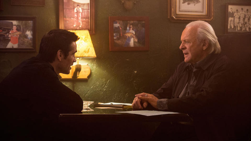 Colin Farrell and Anthony Hopkins in 'Solace'. (Credit: Lionsgate)
