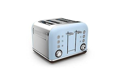 Morphy Richards blue and silver four-slice toaster
