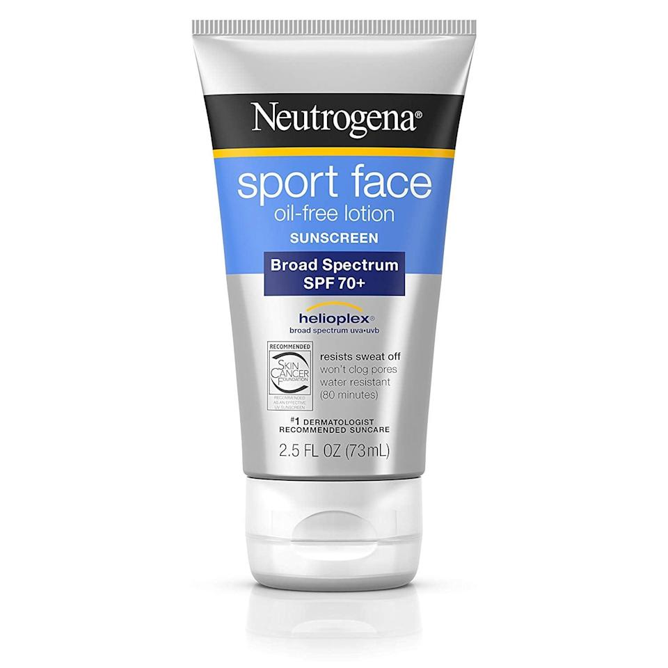 <p>If you're moving around, don't worry about your sunscreen staying put; just reach for this <span>Neutrogena Sport Face Oil-Free Lotion Sunscreen With Broad Spectrum SPF 70+</span> ($11).</p>