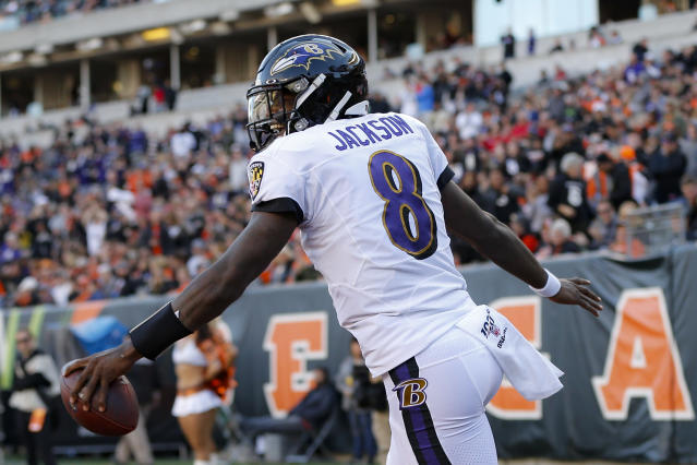 Baltimore Ravens quarterback Lamar Jackson celebrates his touchdown during the second half of NFL football game against the Cincinnati Bengals, Sunday, Nov. 10, 2019, in Cincinnati. (AP Photo/Frank Victores)
