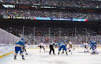 <p>ST LOUIS, MO – JANUARY 02: Tanner Kero #67 of the Chicago Blackhawks and Kyle Brodziak #28 of the St. Louis Blues face off in the first period during the 2017 Bridgestone NHL Winter Classic at Busch Stadium on January 2, 2017 in St Louis, Missouri. (Photo by Chase Agnello-Dean/NHLI via Getty Images) </p>