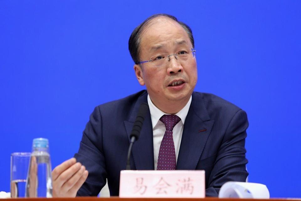 Yi Huiman, chairman of the China Securities Regulatory Commission (CSRC), speaking at a press conference at the State Council Information Office in Beijing in 2019. Photo: Simon Song