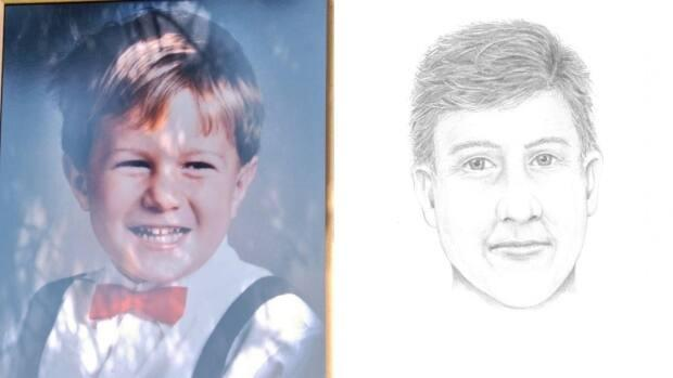 Four-year-old Michael Dunahee disappeared from the Blanshard Elelmentary School playground in Victoria on March 24, 1991. An age-enhanced sketch released Wednesday, at right, shows Dunahee as he might appear at 34 years old. (Michael McArthur/CBC/Victoria Police - image credit)