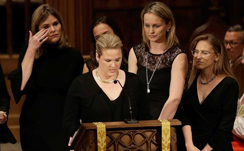 """Former US presidents, family and friends on Saturday bid a tearful farewell to the former first lady Barbara Bush at a private funeral at the nation's largest Episcopal church and remembered her as the """"first lady of the greatest generation."""" Jenna Bush, left, wipes away tears as granddauters gather to speak during the funeral service. AP"""