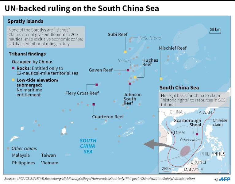 China claims almost all of the South China Sea and has sought to bolster its case by building a series of artificial islands capable of supporting military facilities (AFP Photo/Gal ROMA, Adrian LEUNG )