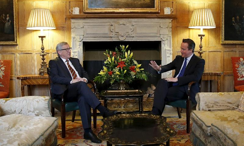 Britain's Prime Minister David Cameron (R) and European Commission President Jean-Claude Juncker (L) meet at Chequers, the prime minister's official country residence, near Ellesborough on May 25, 2015 (AFP Photo/Suzanne Plunkett)