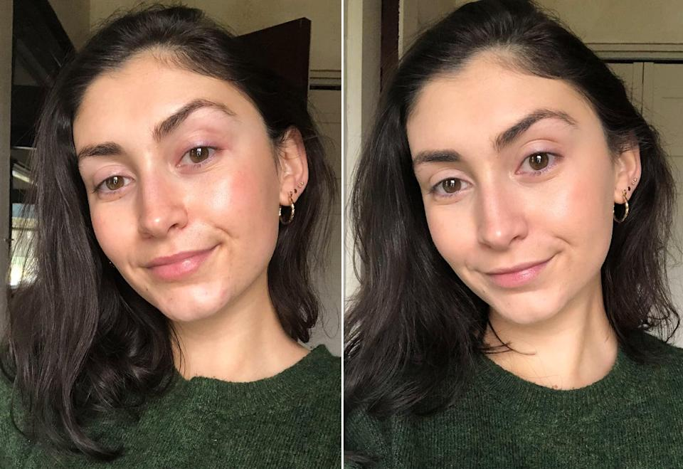 Before and After Using the IT Cosmetics Your Skin But Better Foundation + Skincare